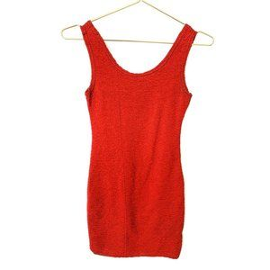 Vintage Red Textured Bodycon Sleeveless Dress
